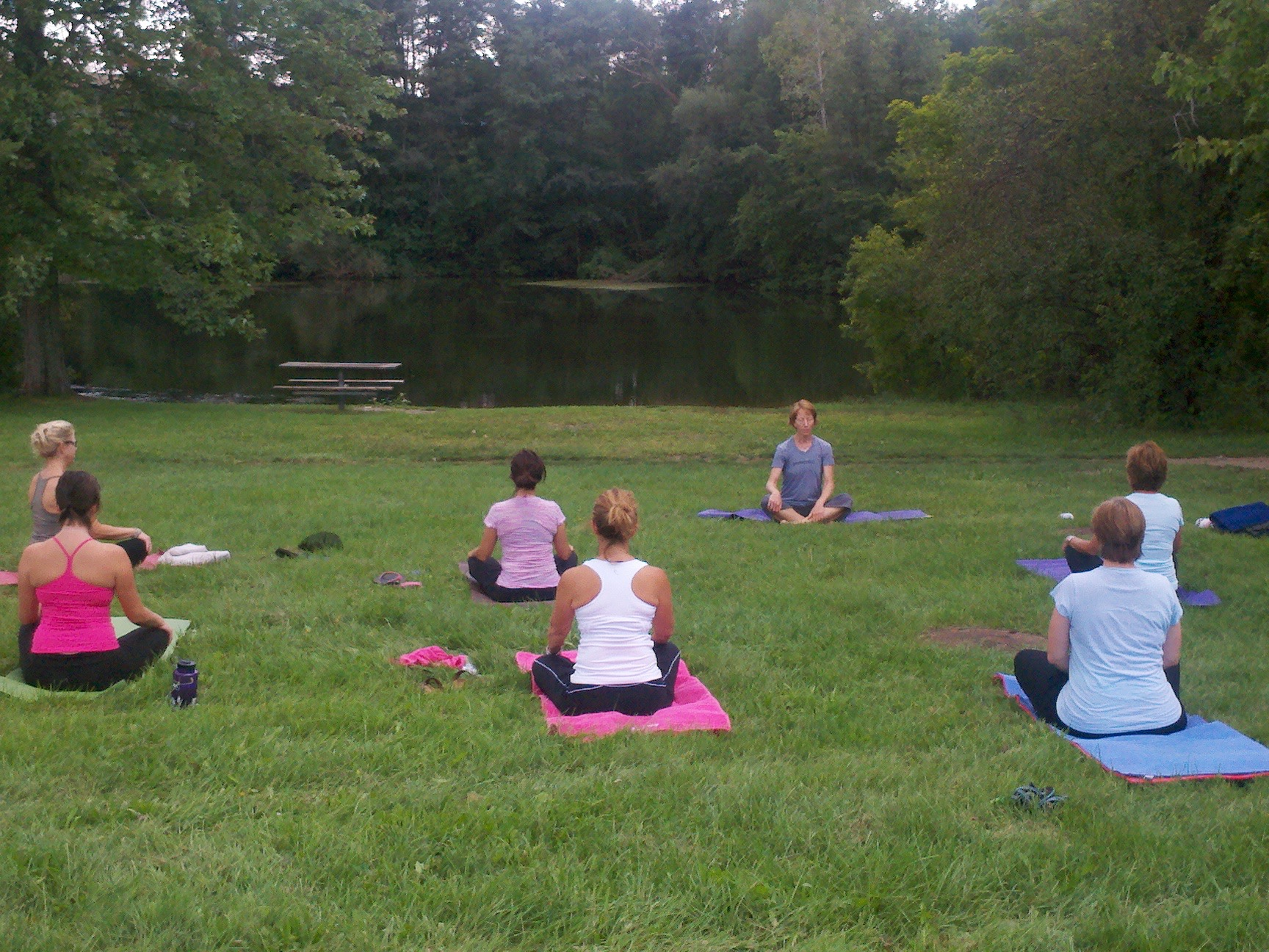 Image of Lisa Hesse and Yogis at Bandemere Park in Ann Arbor
